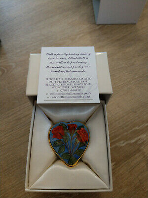 £85 • Buy Elliot Hall Enamels Red Roses Heart Shaped Box By S.Selby 1/1 Ltd Edition