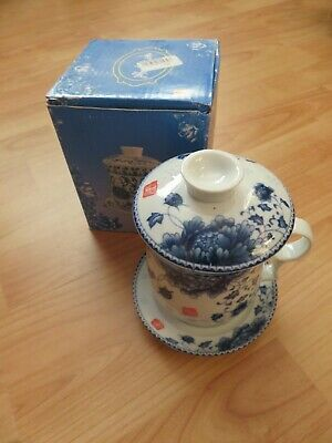 £15 • Buy BRAND NEW WITH BOX - Ceramic Cup With Lid, Tea Strainer And Saucer