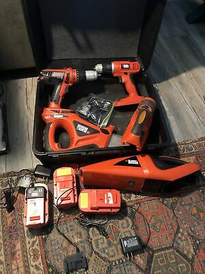 £73.12 • Buy BLACK & DECKER COMBINATION TOOL SET (3)18V BATTERIES 4 CHARGERS Drills Saw More