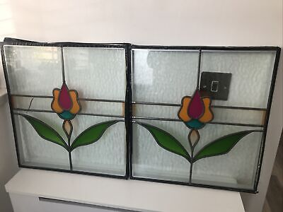 £24.99 • Buy Large Pair Of Vintage Reclaimed Leaded Light Stained Glass Double Glazed Windows