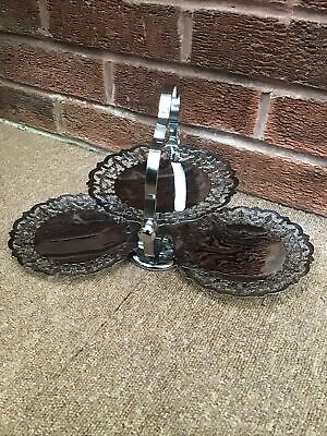 £12.99 • Buy Vintage Silver Plated 3 Tier Folding Cake Stand