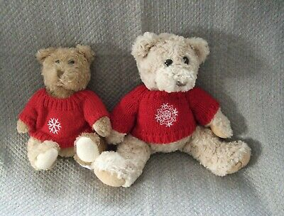 £3.99 • Buy 2 X TEDDY BEARS WITH WOOL JUMPERS  12 & 9 INCH