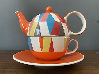 £8 • Buy Whittard Of Chelsea Art Deco Harlequin Mosaic Tea For One : Teapot,Cup & Saucer