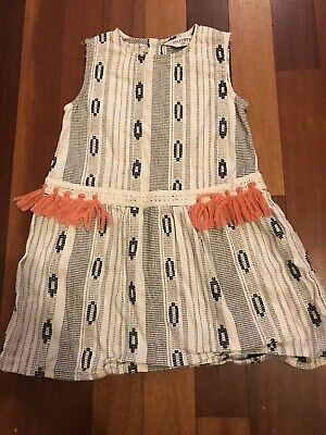 £1.50 • Buy Girls Cream Patterned Dress With Coral Tassels, Age 2-3, Outfit, Used