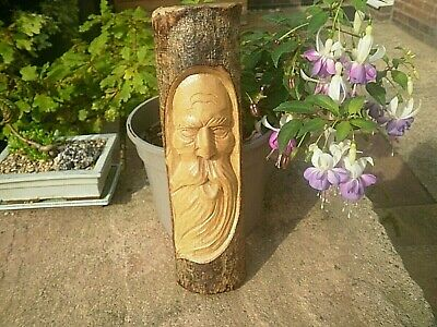 £14.99 • Buy Hand Carved Wood 'OLD MAN OF THE FOREST' Natural Wooden Carving Through Bark