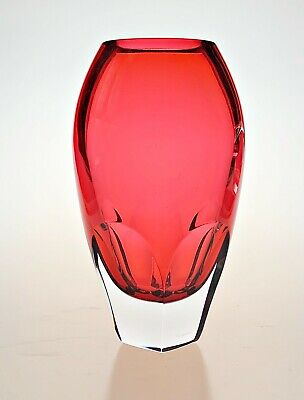 £60 • Buy EXCELLENT Waterford Cranberry Red Art Glass Vase, Pentagonal Cut Base: Signed