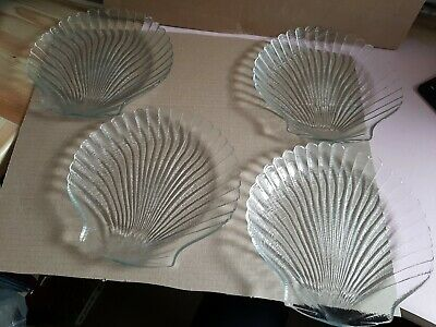 £9.99 • Buy Set Of 4 Glass Shell Shaped Plates By Arcoroc France 20cm Dia