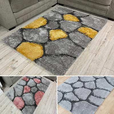 £44.99 • Buy 3D Pebble Stone High Quality Super Soft Thick Dense Pile Modern Living Room Rugs