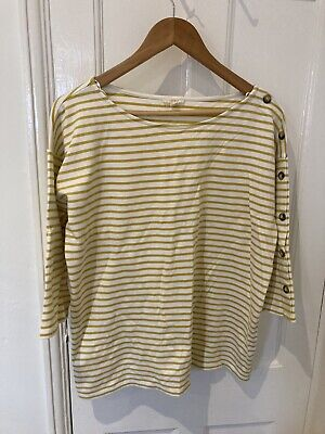 £4.50 • Buy Esprit Large Breton Striped Mustard And White Top Sweatshirt Buttons (14-16)