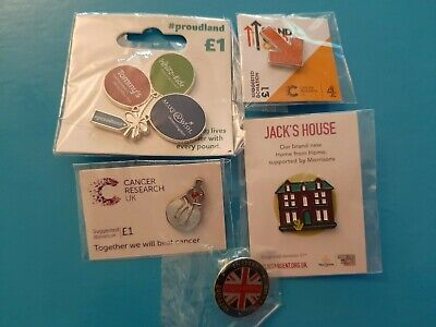 £4.95 • Buy  5  New Charity Badges 2 XCANCER RESEARCH,PROUDLAND,HELP FOR HEROES,CLIC SARGENT