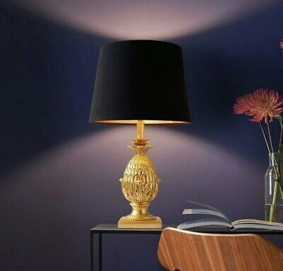 £57.99 • Buy Gold Pineapple Table Lamp With Black Satin Shade