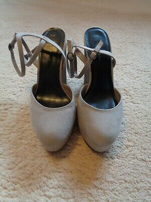 £5 • Buy Shoes Size 5(38) By New Look Stone Colour Platforms Double Ankle Strap
