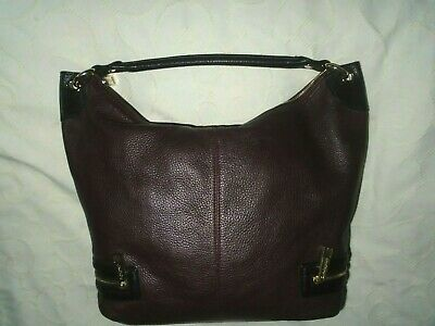 £18 • Buy  M&s Autograph Large Leather Bag,dark Wine/black,inner/outer Pockets,  Vgc