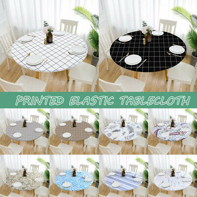 AU17.99 • Buy Round Dining Tablecloth Elastic Waterproof Oilproof Table Cover Outdoor Party