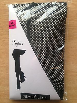 £2.90 • Buy XXL BLACK FISHNET TIGHTS WITH SEAM BACK To 60 Inch Hips