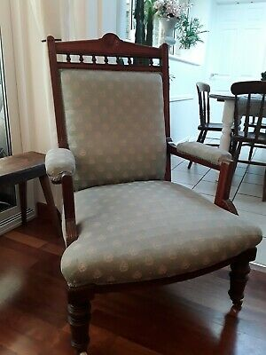 £80 • Buy Victorian Antique Upholstered 19th Century Mahogany Fireside Chair