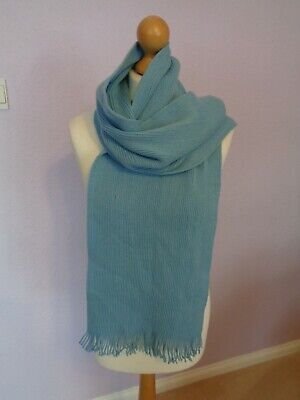 £5.50 • Buy Scarf By Tie Rack Long Light Blue Warm Tasselled Ends 11 X 69 Inches