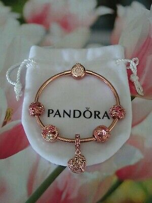 AU157.37 • Buy Authentic Pandora Rose Bracelet With Rose Gold Colored European Charms