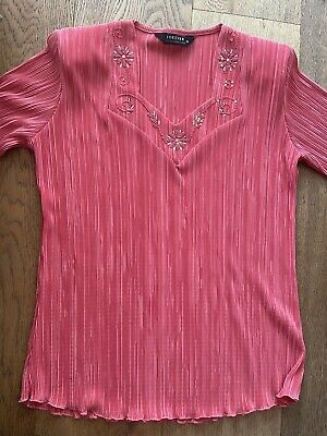 £4 • Buy Forever By Michael Gold Ladies Orange Pleated Top Size M