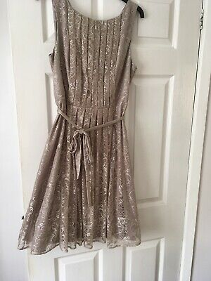 £20 • Buy Monsoon Lace Dress/Occasion Wear Taupe Size 14