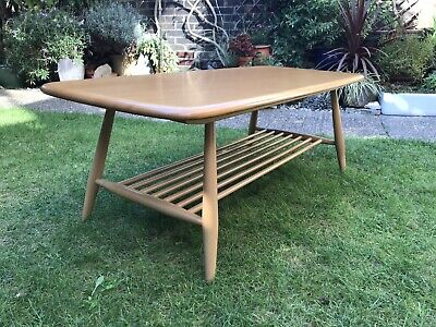 £145 • Buy Ercol Vintage Coffee Table  With Magazine Shelf 70s Solid Elm Top