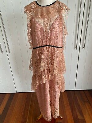 AU41 • Buy Alice McCall Ocean Drive Amber Gold Lace Dress With Rose Gold Lining Size 14