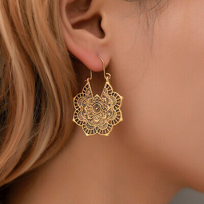 £3.99 • Buy Ethnic Retro Metal Hollow Flower Earrings Exotic Bohemian Carved Palace Style