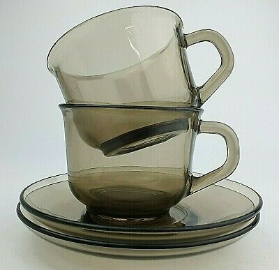 £10.97 • Buy Arcoroc France Set Of Two Cups Saucers Smoked Glass Vintage Retro