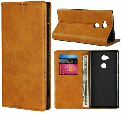AU44.51 • Buy Sony Xperia XA2 Ultra Cowhide Pattern Leather Magnetic Wallet Case -Light Brown