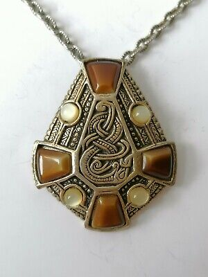 £14.99 • Buy Vintage Miracle Celtic Cross Snake Knot Signed Faux Agate 1970s Pendant Necklace