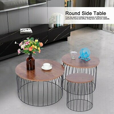 AU162.99 • Buy 3pcs Side Table Set Coffee Table Home Living Room Sofa Round Table Furniture