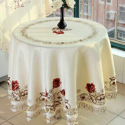 AU34.92 • Buy Round Tablecloth Lace Flower Embroidery Table Cover Dining Wedding Decor 150cm