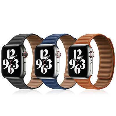 AU14.64 • Buy For 38/40/42/44mm Apple Watch Series 6 5 4 3 SE Leather Link Band Magnetic Strap