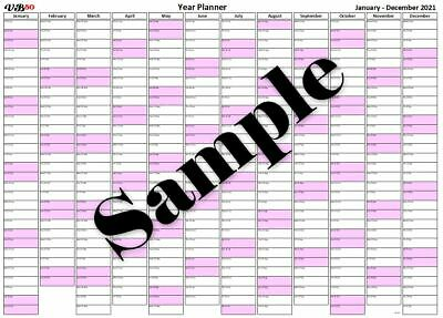 £4.99 • Buy Pink A2 Solid Fill Landscape Wall Year Planner Calendar 2022 2023 2024