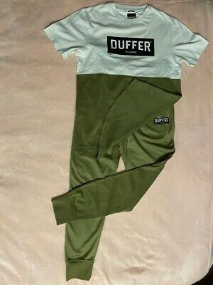 £14 • Buy Duffer Of St. George Tracksuit Set T-shirt & Jogger Colour Green Size M