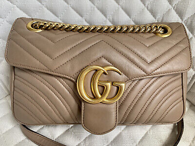 AU2000 • Buy Gucci Small Gg Marmont Matelasse Shoulder Bag In Dusty Pink Leather Rrp$3160