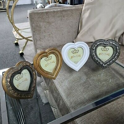 £4.95 • Buy Shabby Chic Small Heart Vintage Wooden Picture Photo Frame White Silver Gold