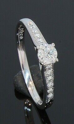 AU1112.68 • Buy 18 Carat White Gold Diamond Solitaire Ring With Accents 0.37ct Size O (70.21.071