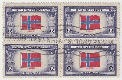 AU2.95 • Buy 1943 USA - Norway, Overrun Countries - Block 4 X 5 Cent Stamps