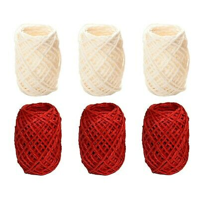 £2.99 • Buy Red & White Christmas Rustic Gift Wrapping Rope String Hessian Twine - 60 Metre