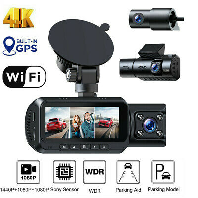 AU205.99 • Buy TOGUARD 4K 3 CH WIFI Dash Cam Car Camera Front And Rear Inside GPS Night Vision