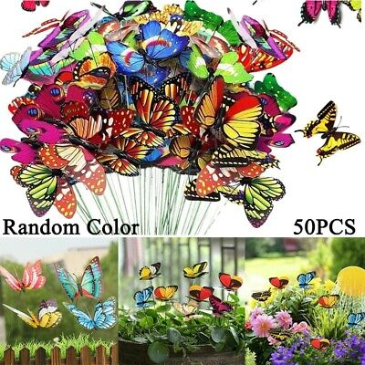 £3.99 • Buy 10/50PC Colourful Butterfly Butterflies Garden Decoration Ornaments Stakes Patio