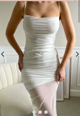 £20 • Buy White Ruched Mesh Midaxi Dress With Side Split Size Uk6 From Femme Luxe