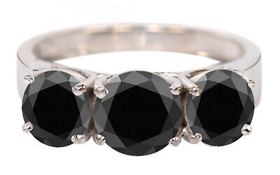 AU1.07 • Buy Solid 14KT White Gold / 3.00Ct Natural Black Diamond Round Shape Solitaire Ring