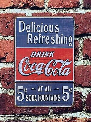 £4.94 • Buy Delicious Coca Cola Cold Coke Drinks Metal Shop Wall Plaque Sign Large 12 X 8