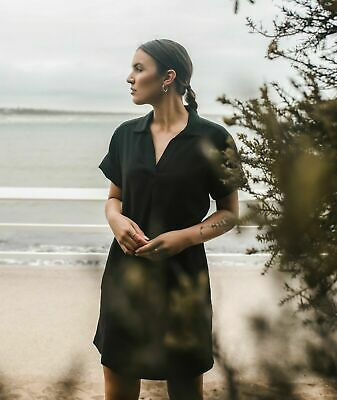 AU79 • Buy COUNTRY ROAD Beautiful Black Popover Shift Linen Dress Size 14 RRP $159