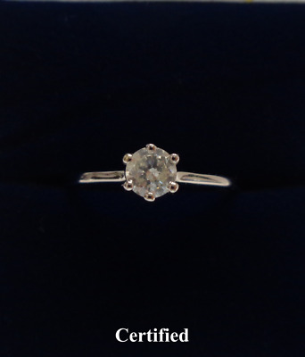 AU649.06 • Buy Fine Natural 0.28ct Diamond Engagement Ring 750 (18ct) White Gold - Size L 1/2