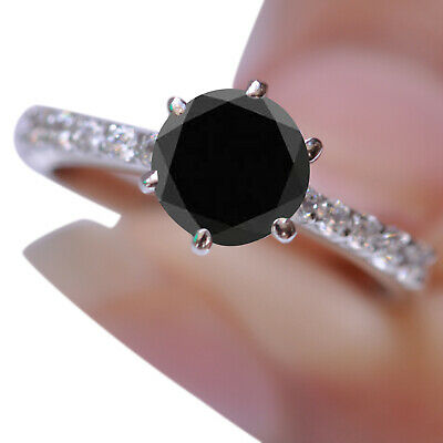 AU1.32 • Buy 925 Silver With 1.69Ct Round Cut Natural Earthmined Black Diamond Solitaire Ring