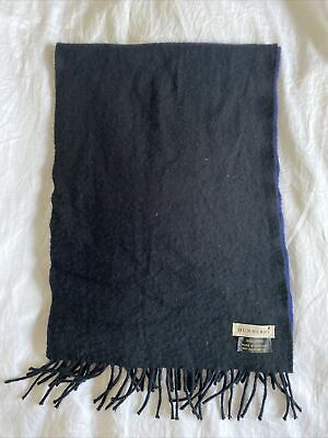 £20 • Buy Burberry 100% Cashmere Two Tone Black And Navy Scarf Unisex