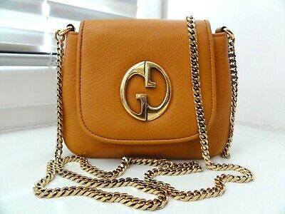 AU510.47 • Buy RRP $950 GUCCI 1973 Mustard Leather Chain Small Crossbody Bag Made In Italy